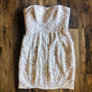 jessica simpson beige lace strapless dress Sz 6